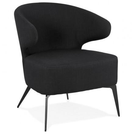 YASUO design chair in black metal foot fabric (black)