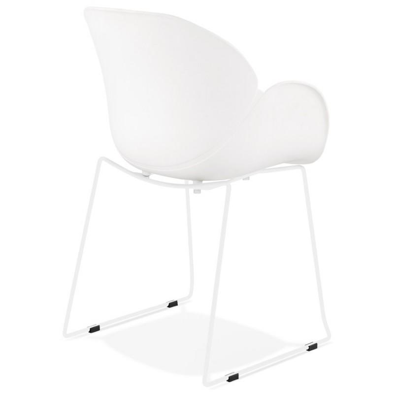 Chaise design CIRSE en polypropylène pieds métal couleur blanche (blanc) - image 43263