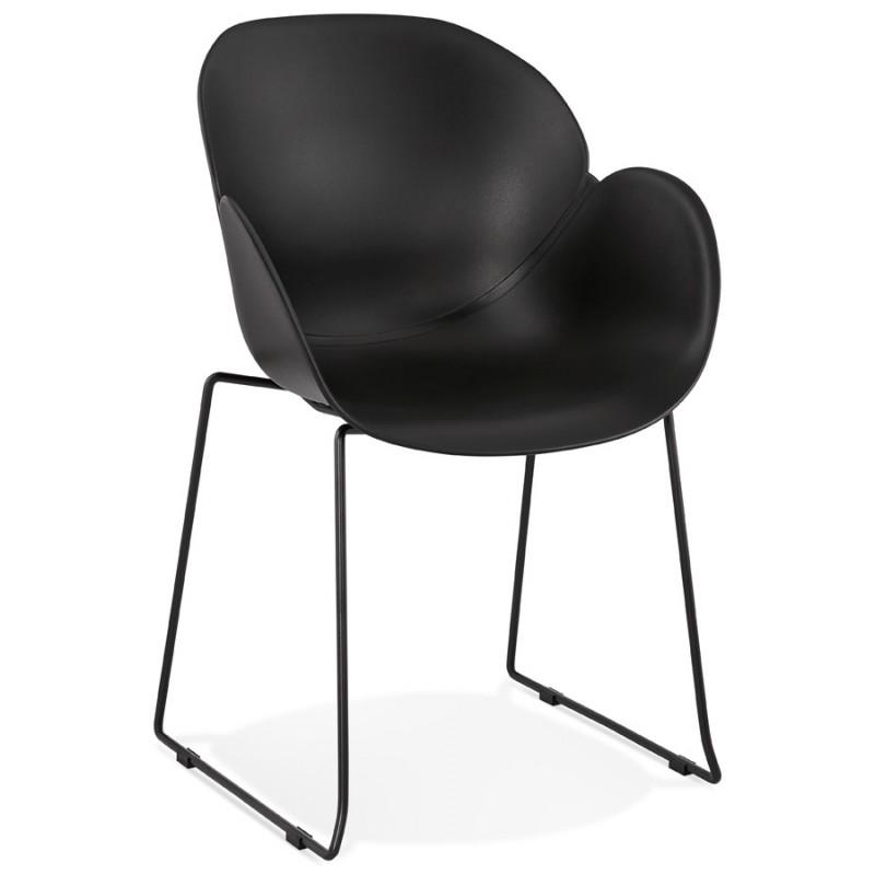 Chaise design CIRSE en polypropylène pieds métal couleur noire (noir)
