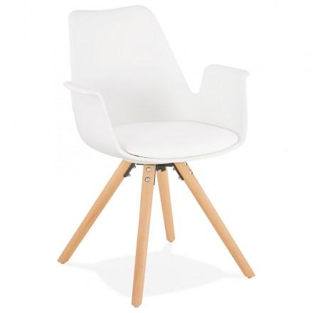 Silla de diseño escandinavo con apoyabrazos de madera de color natural de pies ARUM (blanco)