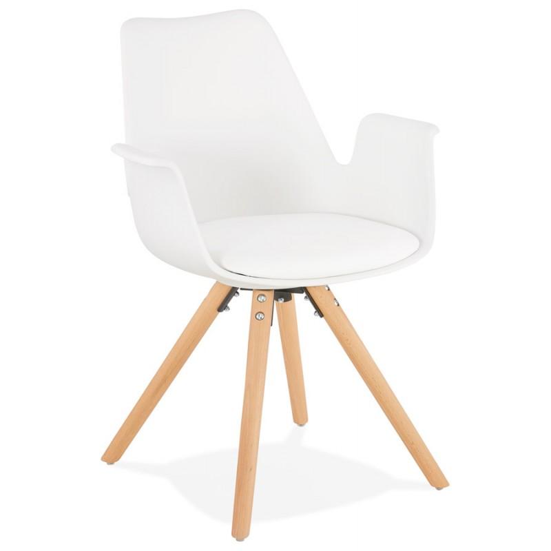Skandinavischer Designstuhl mit ARUM Füßen naturfarbenen Holzarmlehnen (weiß)