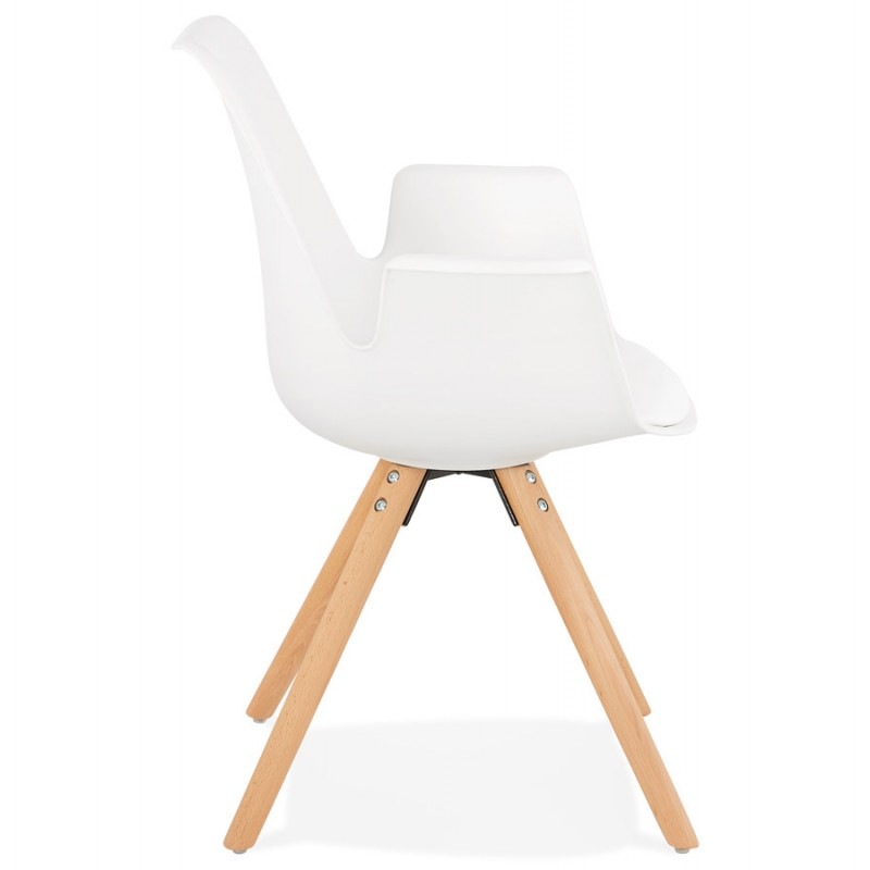 Scandinavian design chair with ARUM feet natural-coloured wooden armrests (white) - image 43284