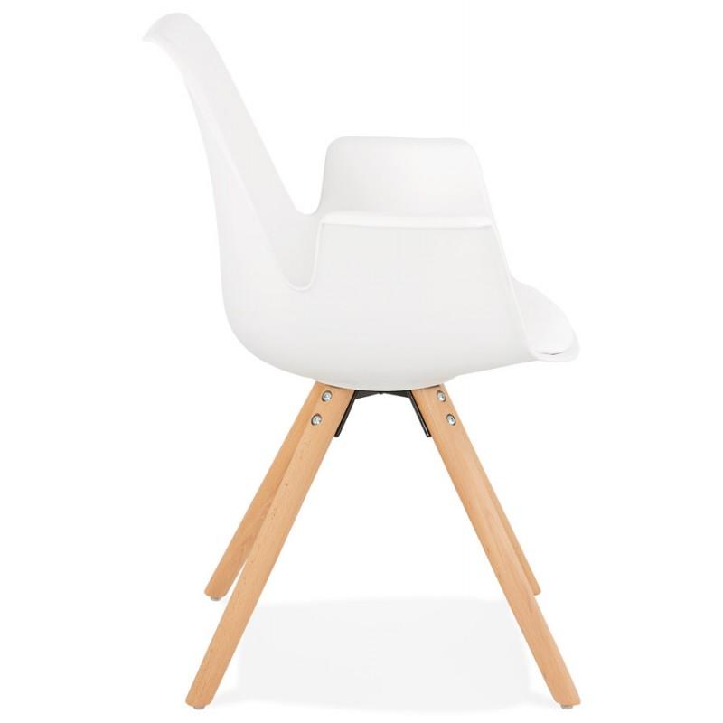 Skandinavischer Designstuhl mit ARUM Füßen naturfarbenen Holzarmlehnen (weiß) - image 43284