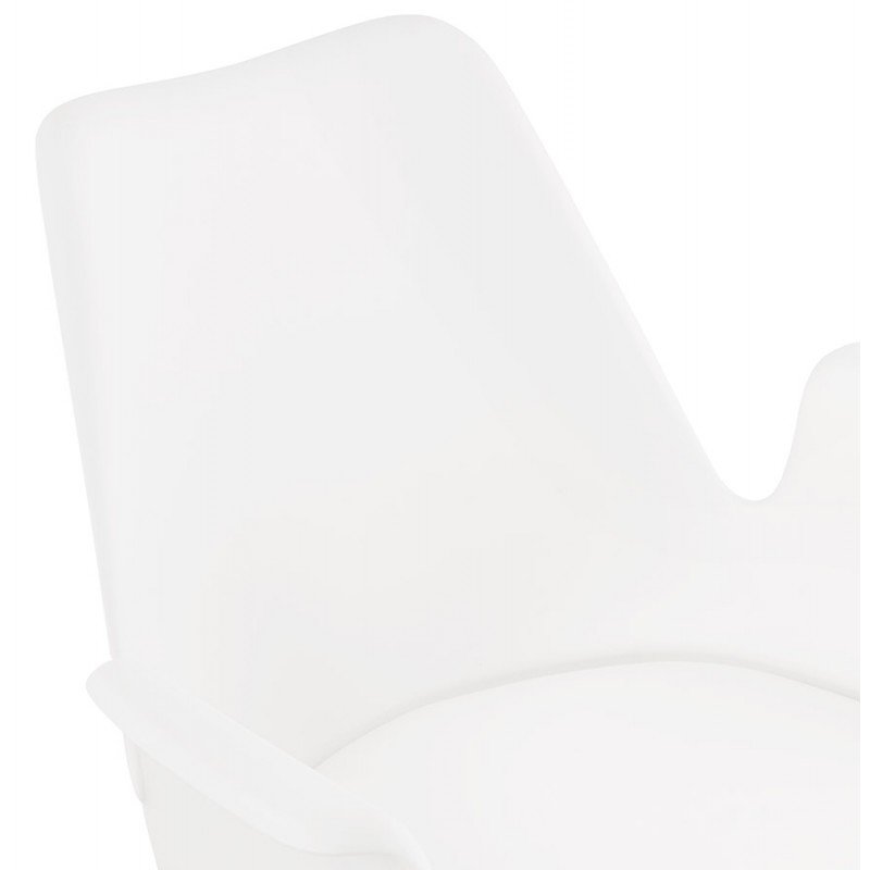 Scandinavian design chair with ARUM feet natural-coloured wooden armrests (white) - image 43288