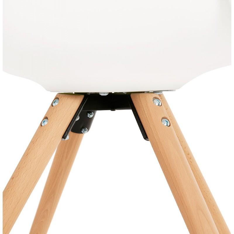 Skandinavischer Designstuhl mit ARUM Füßen naturfarbenen Holzarmlehnen (weiß) - image 43292