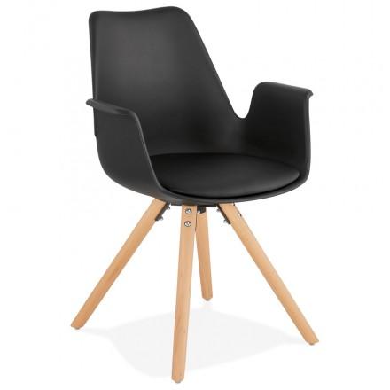 Silla de diseño escandinavo con pies ARUM pie de madera de color natural inquieto (negro)