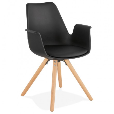 Skandinavischer Designstuhl mit ARUM Füßen naturfarbenen Holzfuß unruhig (schwarz)