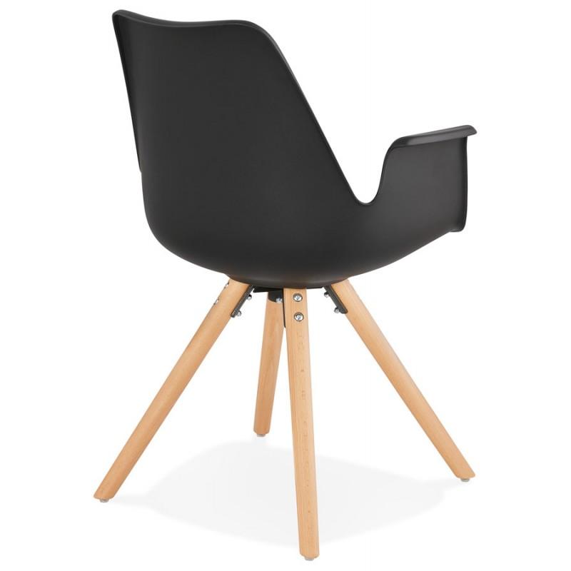 Chaise design scandinave avec accoudoirs ARUM pieds bois couleur naturelle (noir) - image 43297