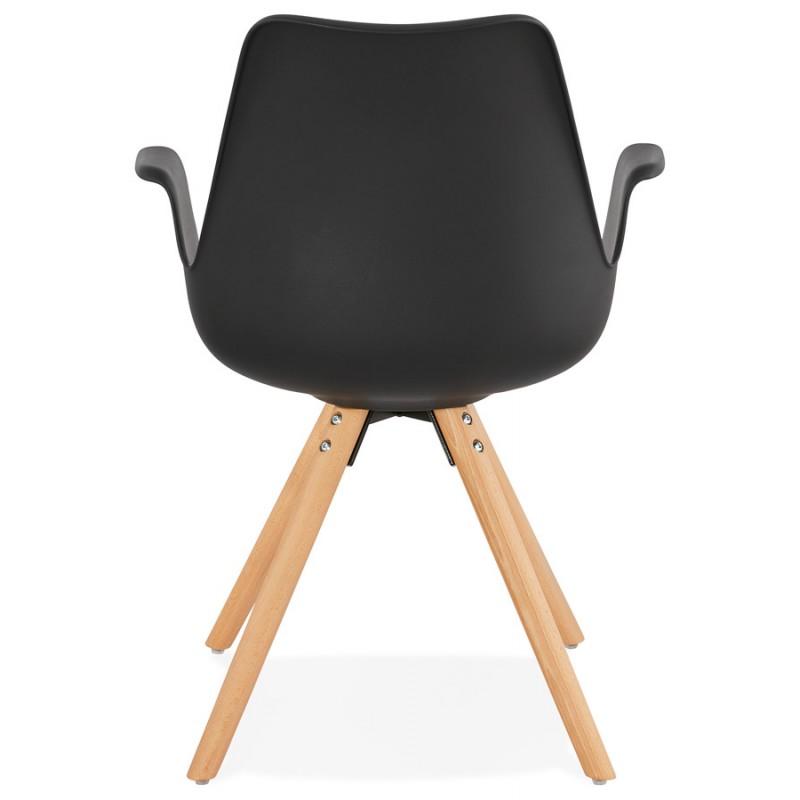 Chaise design scandinave avec accoudoirs ARUM pieds bois couleur naturelle (noir) - image 43298