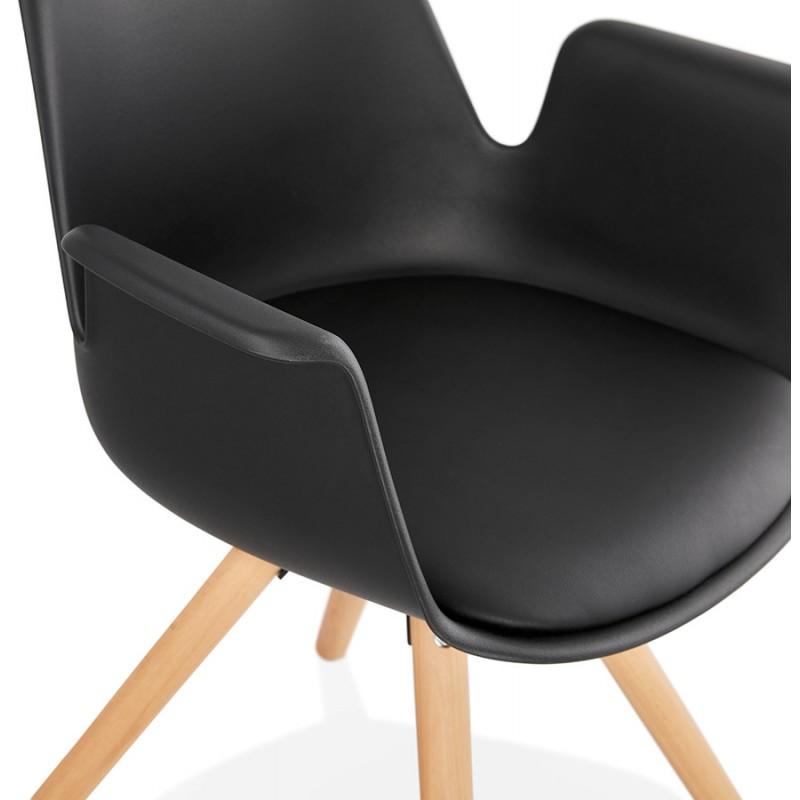 Chaise design scandinave avec accoudoirs ARUM pieds bois couleur naturelle (noir) - image 43301