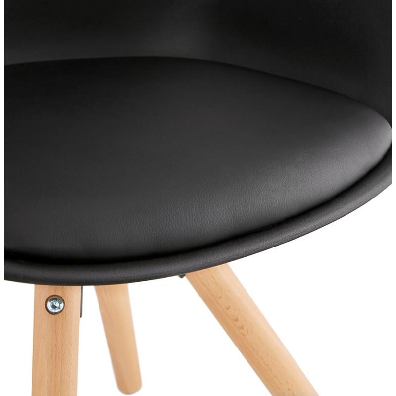 Chaise design scandinave avec accoudoirs ARUM pieds bois couleur naturelle (noir) - image 43303