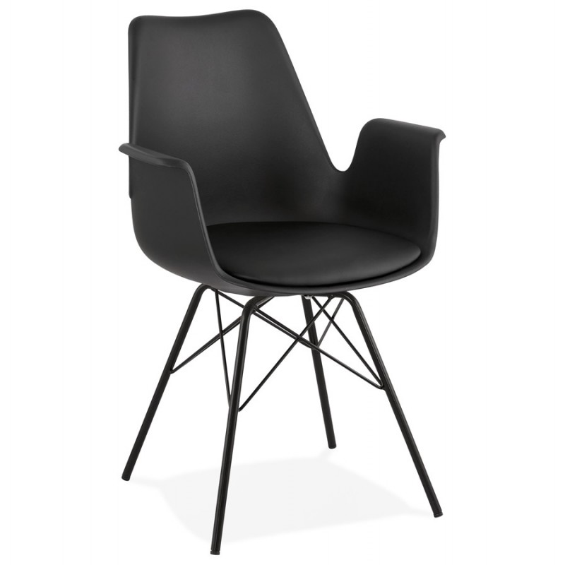Industrial design chair with ORCHIS armrests in polypropylene (black) - image 43316