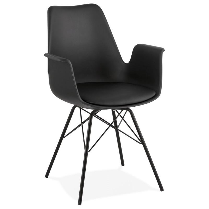 Industriedesignstuhl mit ORCHIS Armlehnen aus Polypropylen (schwarz)