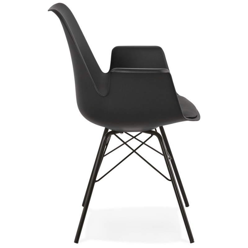 Industrial design chair with ORCHIS armrests in polypropylene (black) - image 43318