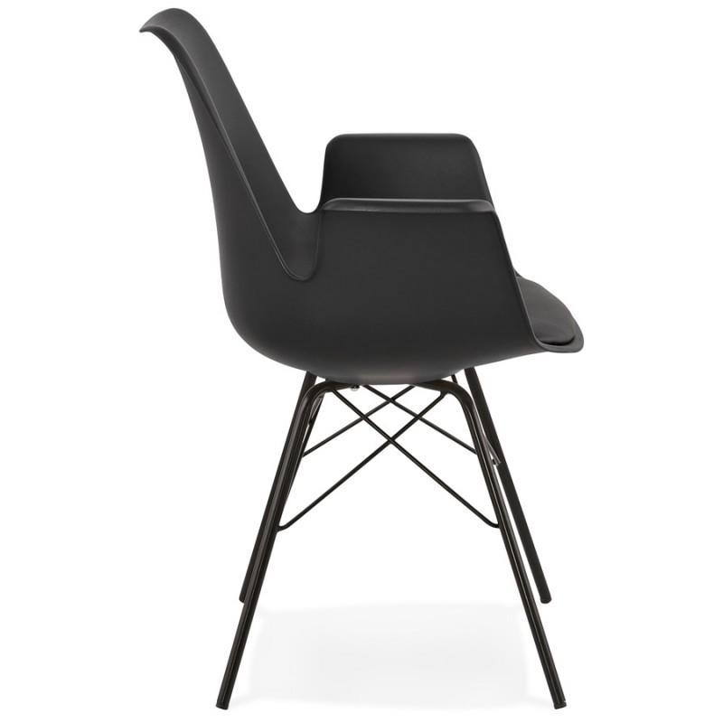 Industriedesignstuhl mit ORCHIS Armlehnen aus Polypropylen (schwarz) - image 43318