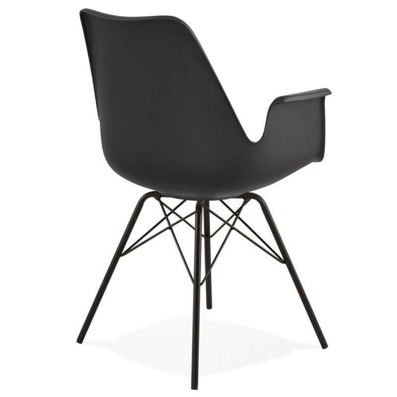 Industrial design chair with ORCHIS armrests in polypropylene (black) - image 43319