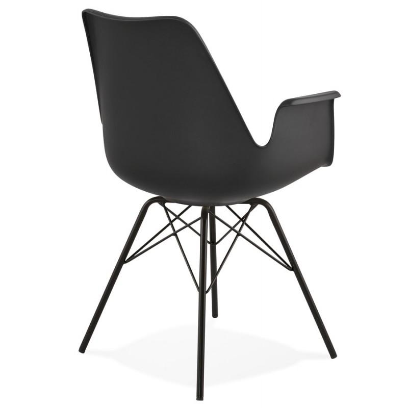 Chaise design industrielle avec accoudoirs ORCHIS en polypropylène (noir) - image 43319