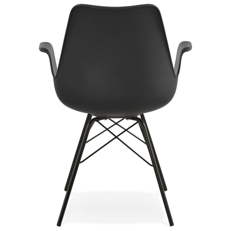 Chaise design industrielle avec accoudoirs ORCHIS en polypropylène (noir) - image 43320