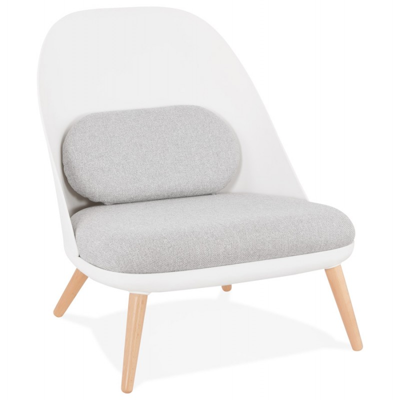 Fauteuil lounge design scandinave AGAVE (blanc, gris clair) - image 43326