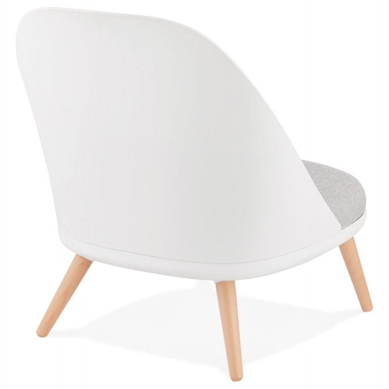 Fauteuil lounge design scandinave AGAVE (blanc, gris clair) - image 43329