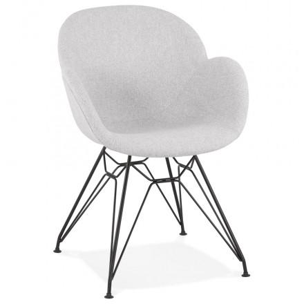 Sedia di design in stile industriale TOM in tessuto nero in metallo (grigio chiaro)