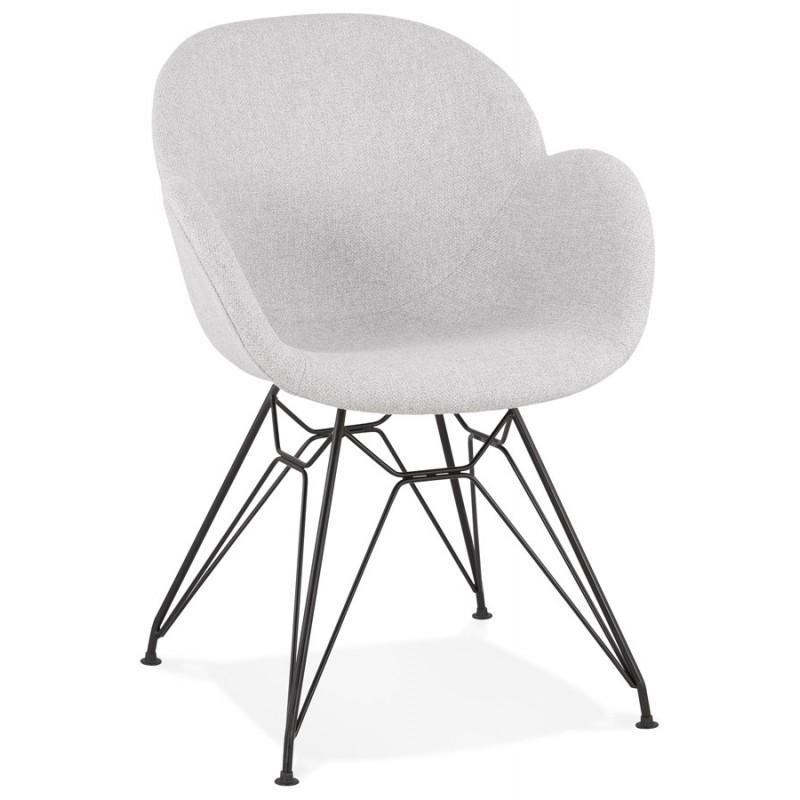 Chaise design style industriel TOM en tissu pieds métal noir (gris clair) - image 43377