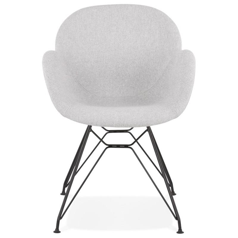 Chaise design style industriel TOM en tissu pieds métal noir (gris clair) - image 43378