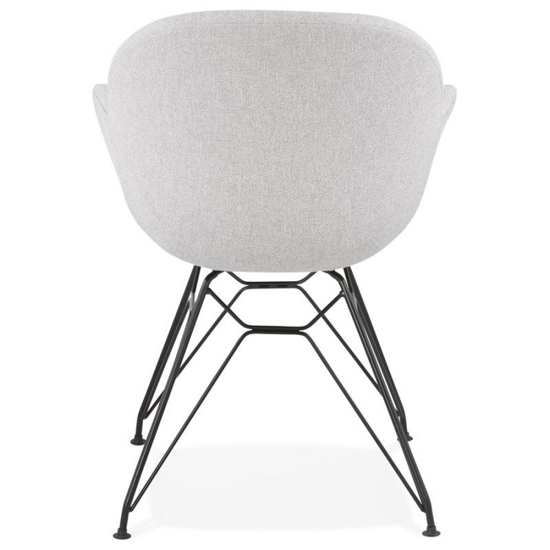 Chaise design style industriel TOM en tissu pieds métal noir (gris clair) - image 43381