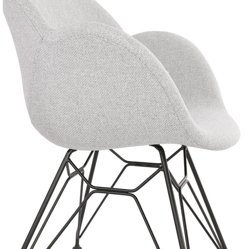 Chaise design style industriel TOM en tissu pieds métal noir (gris clair) - image 43384