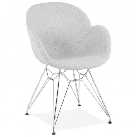 TOM industrial style design chair in chrome metal foot fabric (light grey)