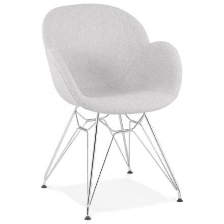 Sedia di design in stile industriale TOM in tessuto cromato per piedi in metallo (grigio chiaro)