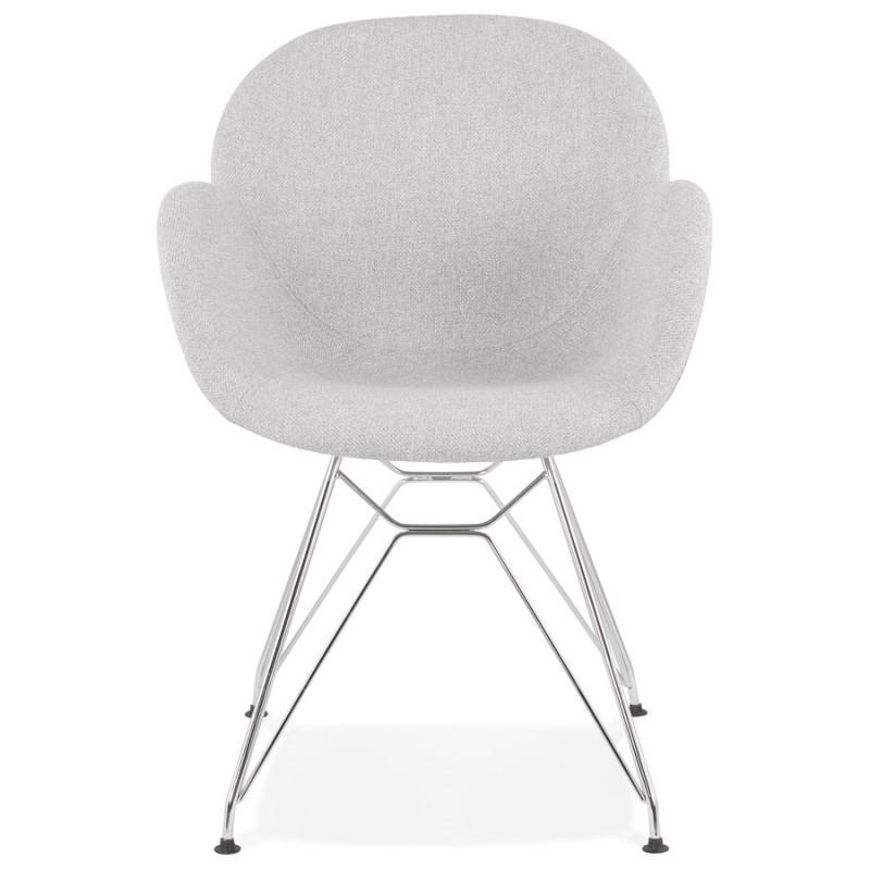 Chaise design style industriel TOM en tissu pieds métal chromé (gris clair) - image 43391