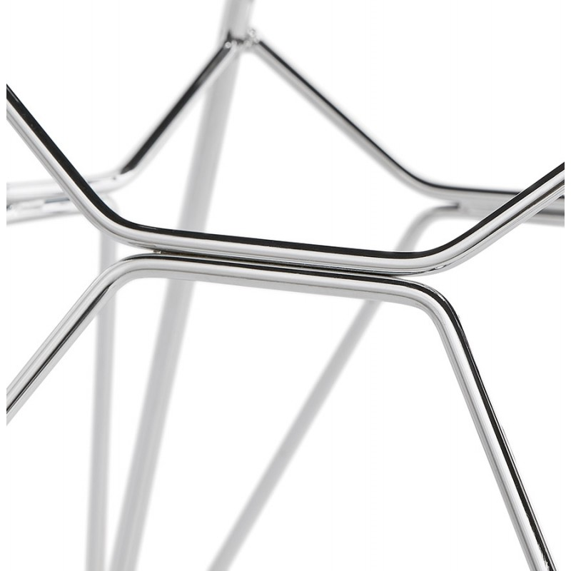 Chaise design style industriel TOM en tissu pieds métal chromé (gris clair) - image 43399