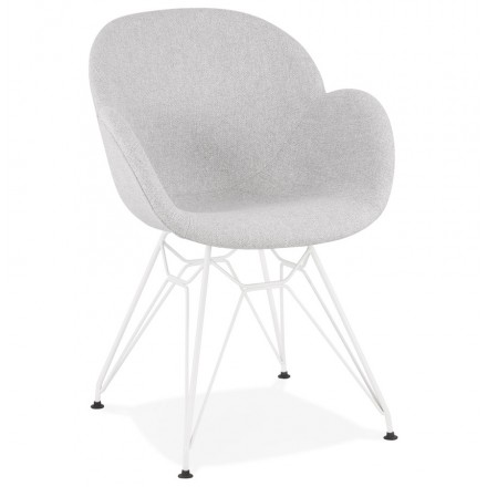 Chaise design style industriel TOM en tissu métal peint blanc (gris clair)