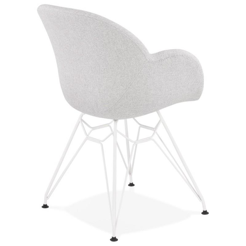 Chaise design style industriel TOM en tissu métal peint blanc (gris clair) - image 43405