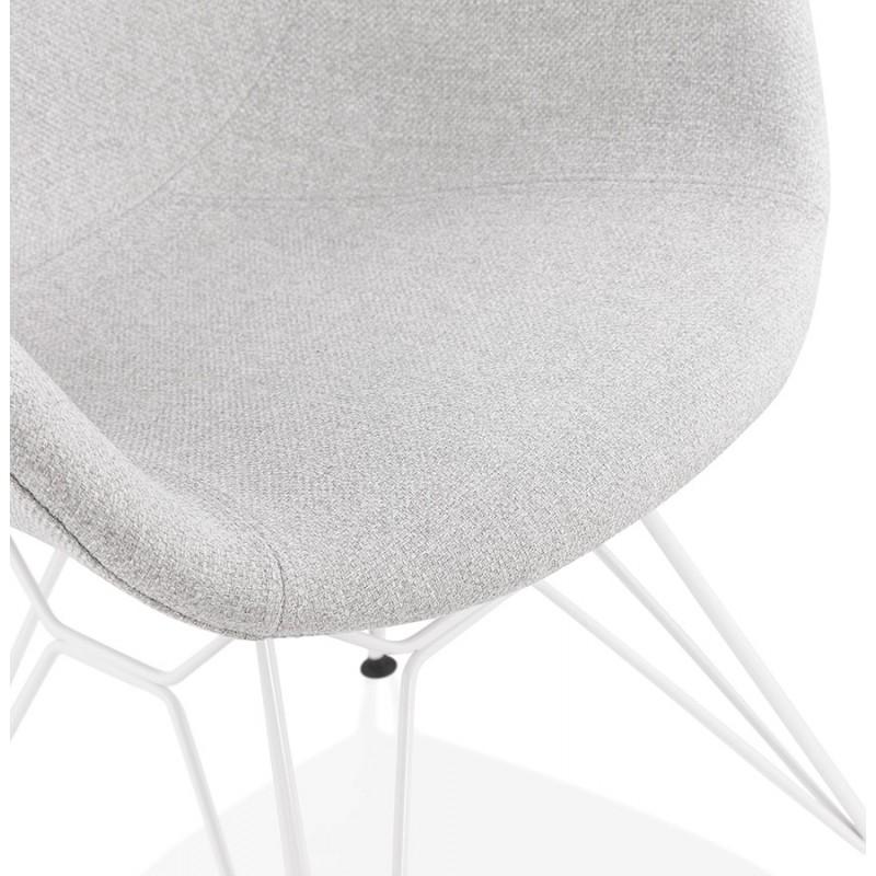 Chaise design style industriel TOM en tissu métal peint blanc (gris clair) - image 43408