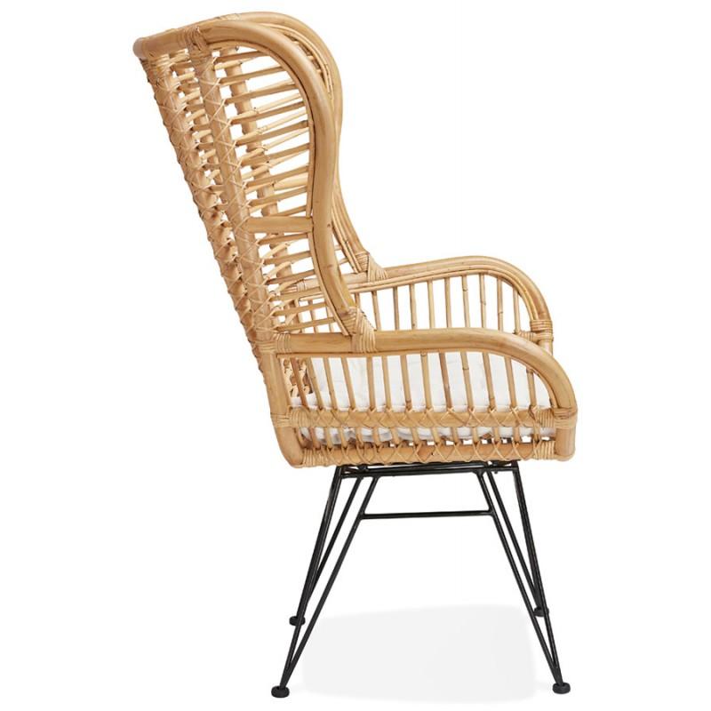 Rattan chair with PITAYA foot restless black (natural) - image 43439