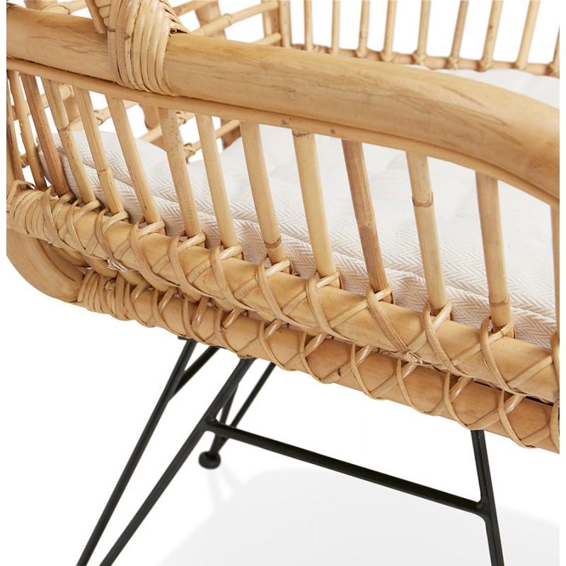 Rattan chair with PITAYA foot restless black (natural) - image 43444