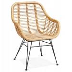 Chaise en rotin avec accoudoirs SUMATRA pieds couleur noire (naturel)