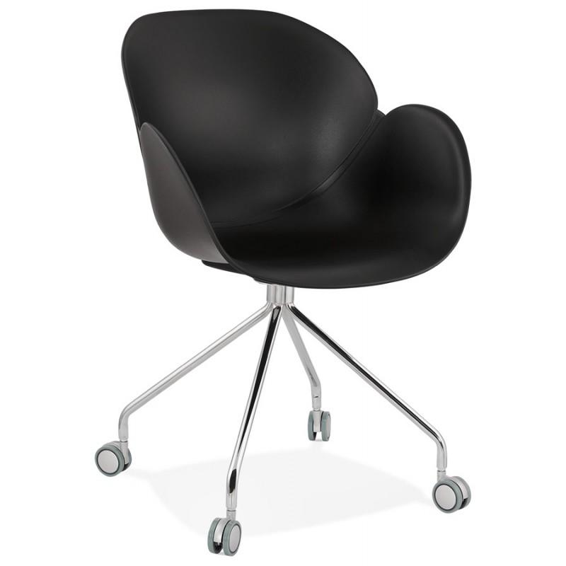 Sedia da tavolo SORBIER su ruote in piede in metallo cromato in polipropilene (nero)