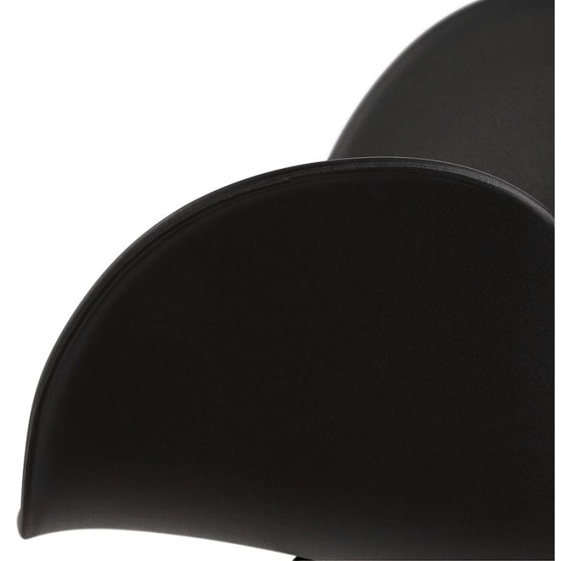 Sedia da tavolo SORBIER su ruote in piede in metallo cromato in polipropilene (nero) - image 43474