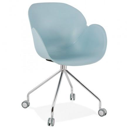 Chaise de bureau sur roulettes SORBIER en polypropylène pieds métal chromé (bleu ciel)
