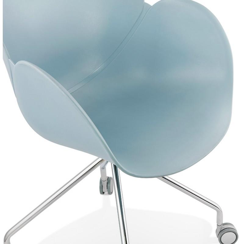 Chaise de bureau sur roulettes SORBIER en polypropylène  pieds métal chromé (bleu ciel) - image 43480