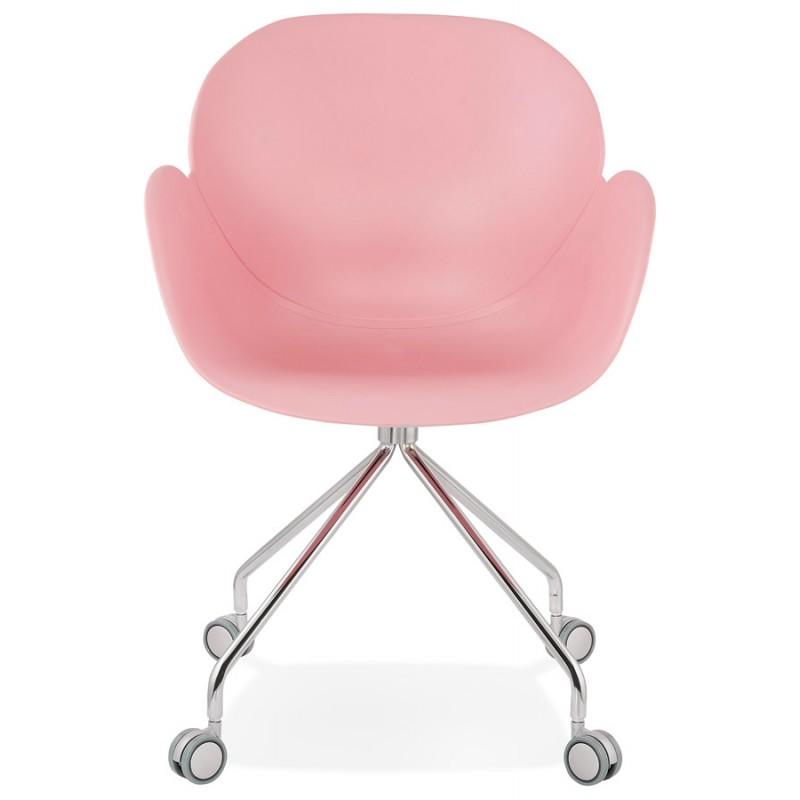Chaise de bureau sur roulettes SORBIER en polypropylène  pieds métal chromé (rose) - image 43486