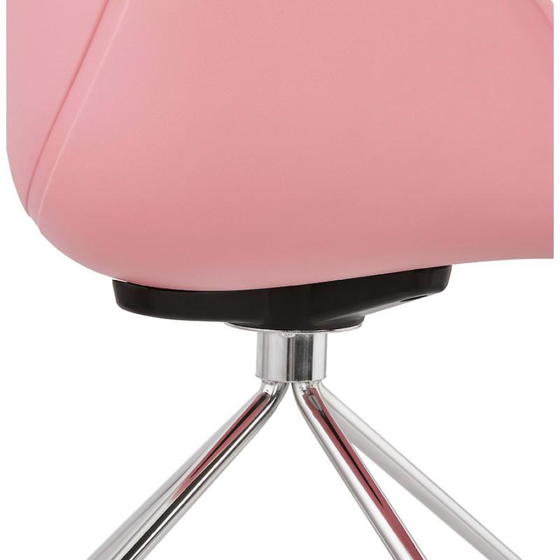 Chaise de bureau sur roulettes SORBIER en polypropylène  pieds métal chromé (rose) - image 43490