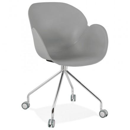 Sedia da tavolo SORBIER su ruote in piedi in metallo cromato in polipropilene (grigio)