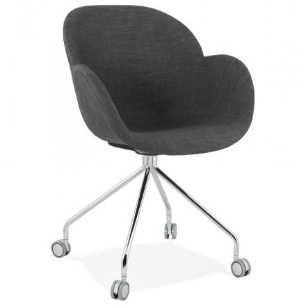 Chaise de bureau sur roulettes CAPUCINE en tissu (gris anthracite)