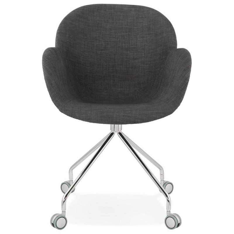 Chaise de bureau sur roulettes CAPUCINE en tissu (gris anthracite) - image 43500