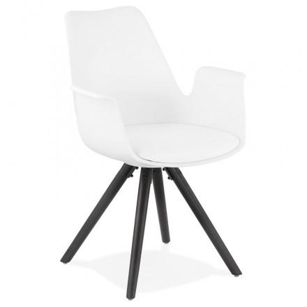 Skandinavischer Designstuhl mit ARUM schwarz-schwarz (weiß) HolzFußarmlehnen