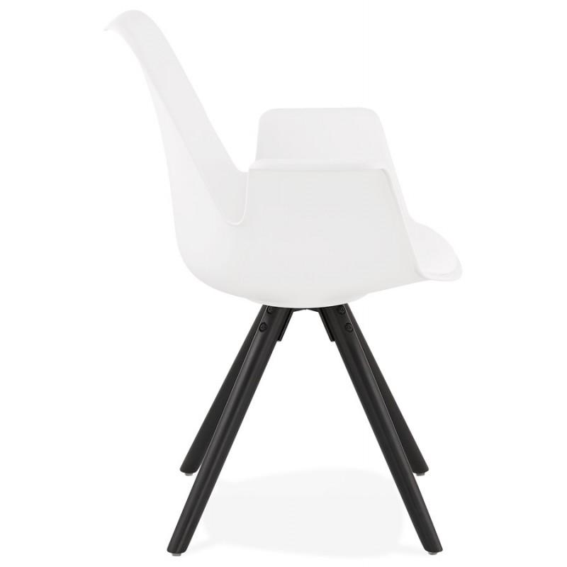 Chaise design scandinave avec accoudoirs ARUM pieds bois couleur noire (blanc) - image 43517